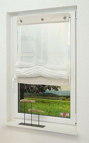Raffrollo im Wohnzimmer - moderne Fensterdeko von Wohntextilien.de